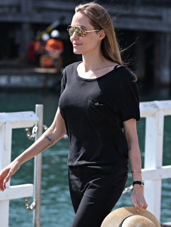 EXCLUSIVE: Angelina Jolie heading off to work using a water taxi in Sydney, NSW, Australia Part 2 of 2