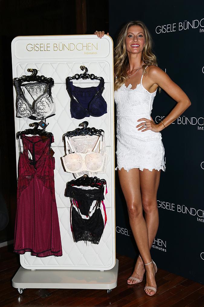 Leggy Gisele Bundchen launches lingerie collection in Brazil