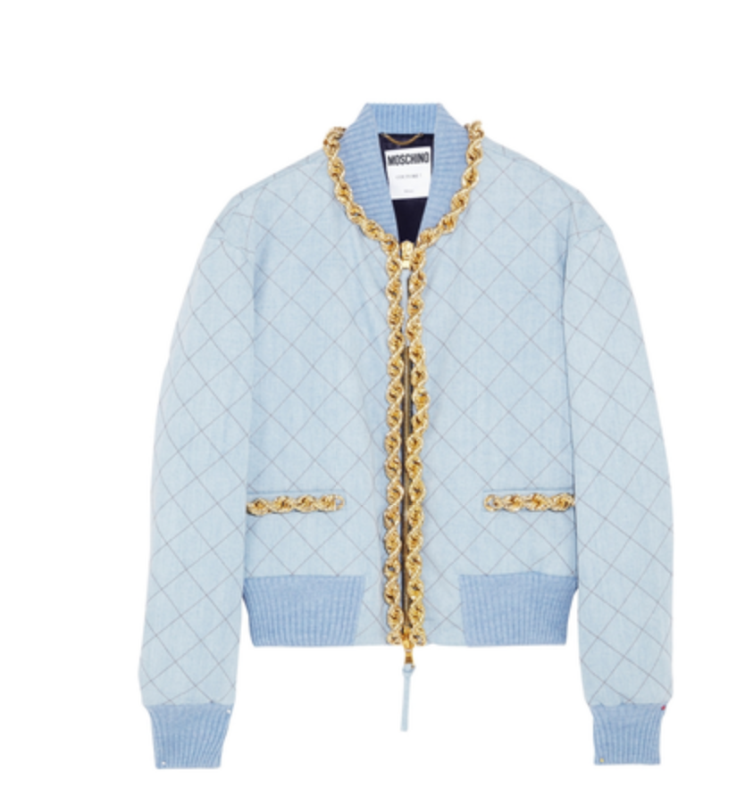 moschino-chain-trimmed-quilted-denim-bomber-jacket
