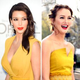Color pop! Κίτρινα φορέματα και φωτεινά κραγιόν