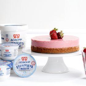 Τούρτα γιαούρτι με φράουλες με στραγγιστό γιαούρτι ΔΩΔΩΝΗ