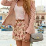 purse, floral dress