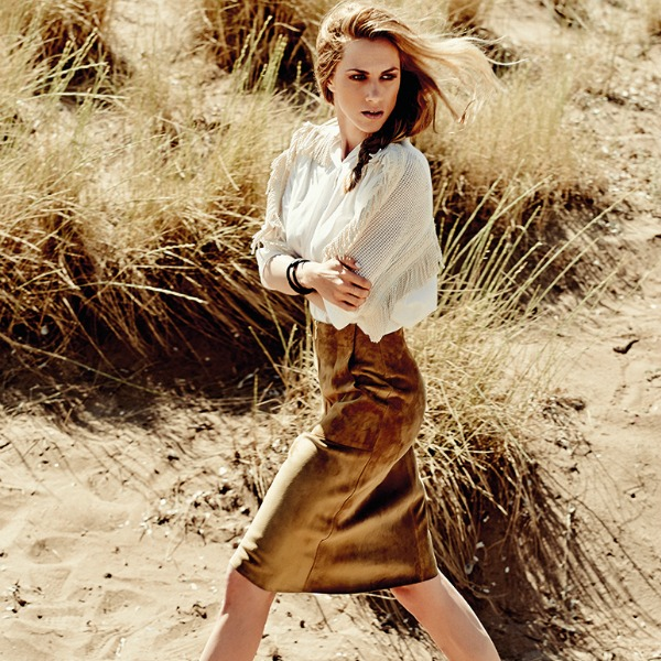 Doretta Papadimitriou instyle Paragogi Ioulios 2014 Tefhos 10 Safari Look Camel Nude Braid Pleksida Natural midi skirt white shirt booties boots