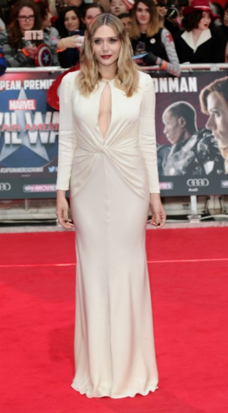 elizabeth olsen, Alexander McQueen, Captain America: Civil War premiera, mosaic, look of the day