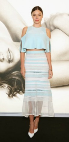 miranda kerr, look of the day, mosaic, Shirt and skirt – RVN Shoes – Francesco Russo