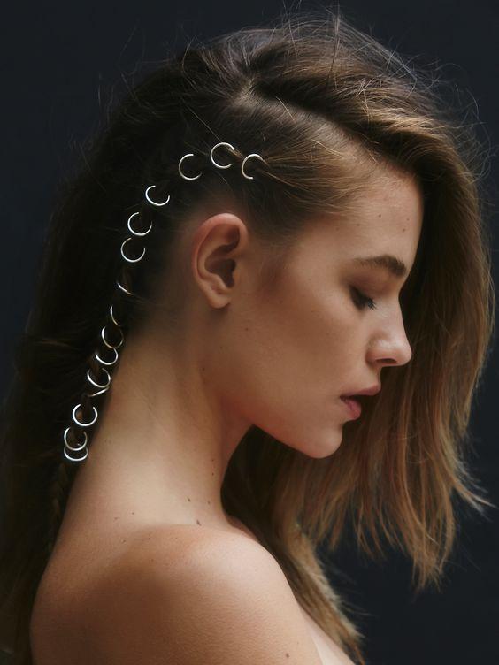 pierced hair