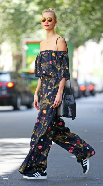 karlie kloss, off shoulder, Fendi Purse – Tom Ford Shoes – Adidas, mosaic, look of the day