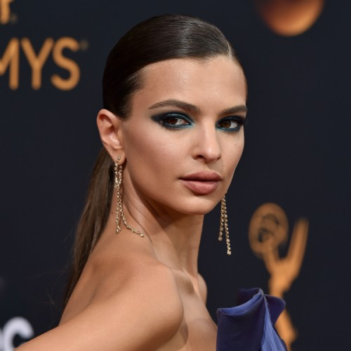Emily Ratajkowski, homepage image, blue smokey eye, nude lips, sleek hair