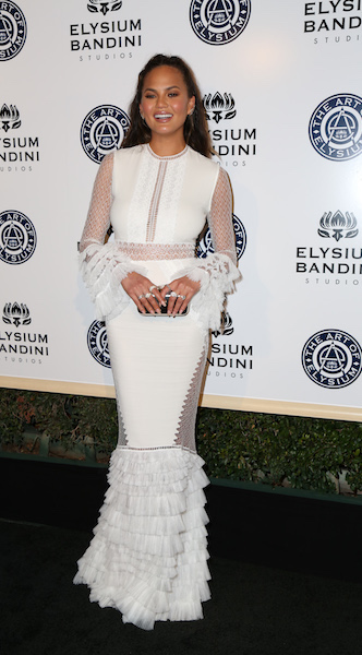 Celebrities arrive at the Art of Elysium presents Stevie Wonder's 'Heaven', celebrating the 10th Anniversary at Red Studios in Los Angeles, California, USA. Pictured: Chrissy Teigen Ref: SPL1417710 070117 Picture by: @ParisaMichelle / Splash News Splash News and Pictures Los Angeles: 310-821-2666 New York: 212-619-2666 London: 870-934-2666 photodesk@splashnews.com