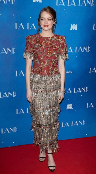 PARIS, FRANCE - JANUARY 10: Actress Emma Stone attends 'LA LA LAND' Premiere at Cinema UGC Normandie on January 10, 2017 in Paris, France. (Photo by Marc Piasecki/WireImage)