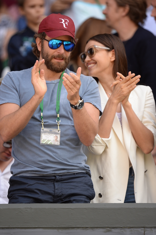 US actor Bradley Cooper  on centre court for the men's singles quarter-final match between Switzerland's Roger Federer and Croatia's Marin Cilic on the tenth day of the 2016 Wimbledon Championships at The All England Lawn Tennis Club