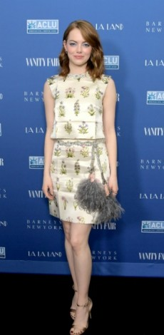 emma stone, mosaic, look of the day, Vanity Fair and Barneys New York Private Dinner in Celebration of 'La La Land' at Chateau Marmont