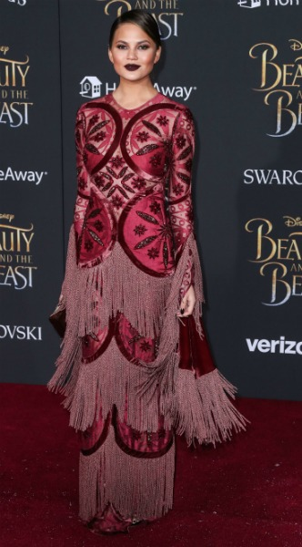 chrissy teigen beauty and the beast, mosaic, look of the day