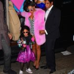 Beyonce and Jay Z were spotted arriving to their Annual Halloween Party in NYC . The couple dressed as a super stylish Black Barbie and Black Ken Doll set. Beyonce stunned in a Pink Fur Coat and a striped Bodysuit. She wore a mirrored pair of sunglasses as she walked with her Husband Jay Z and cute daughter Blue Ivy into the party. They were joined by Kelly Rowland as well, who dressed up as RUN DMC Pictured: Beyonce, Jay Z , Ref: SPL1384685 011116 Picture by: 247PAPS.TV / Splash News Splash News and Pictures Los Angeles: 310-821-2666 New York: 212-619-2666 London: 870-934-2666 photodesk@splashnews.com