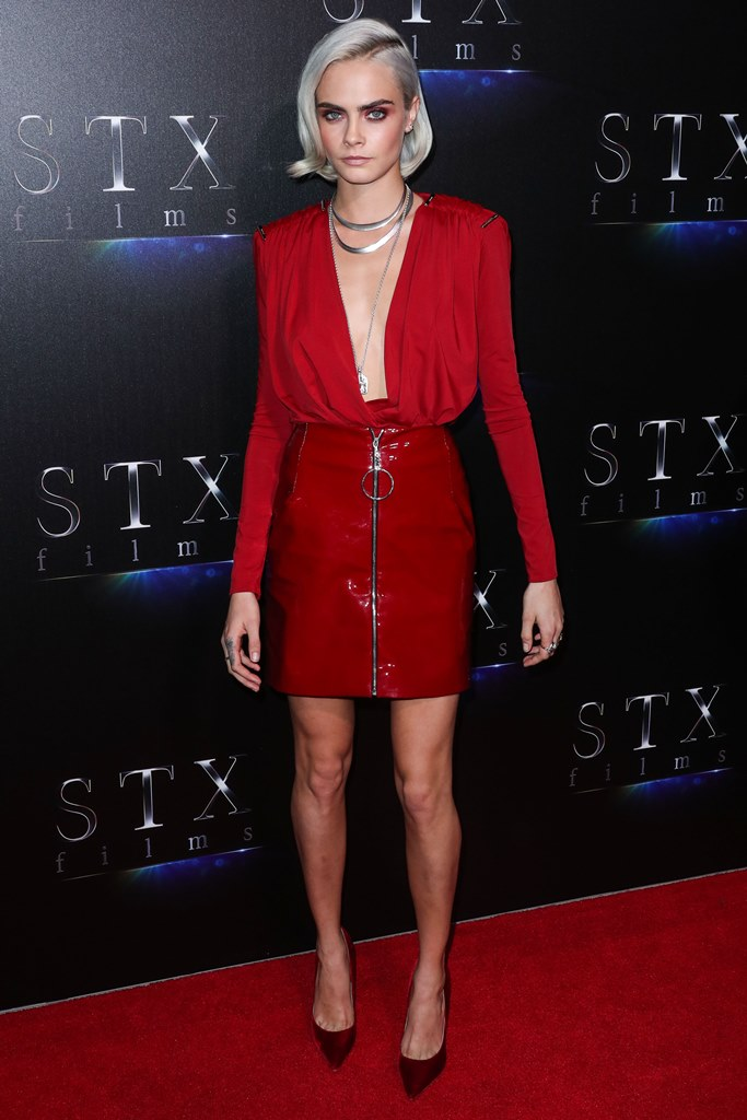 LAS VEGAS, NV, USA - MARCH 28: Actress/Model Cara Delevingne wearing a Thierry Mugler outfit and Jimmy Choo shoes arrives at the CinemaCon 2017 - STX Entertainment 'The State Of The Industry: Past, Present And Future' Presentation held at The Colosseum at Caesars Palace during CinemaCon, the official convention of the National Association of Theatre Owners on March 28, 2017 in Las Vegas, Nevada, United States. (Photo by Xavier Collin/Image Press Agency/Splash News) <P> Pictured: Cara Delevingne <B>Ref: SPL1469999  280317  </B><BR /> Picture by: Xavier Collin/IPA/Splash News<BR /> </P><P> <B>Splash News and Pictures</B><BR /> Los Angeles:310-821-2666<BR /> New York:212-619-2666<BR /> London:870-934-2666<BR /> photodesk@splashnews.com<BR /> </P>