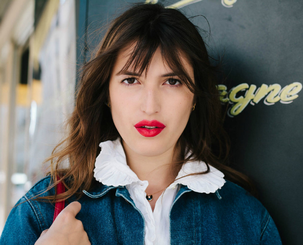 jeanne damas, french girl, bangs, red lips,