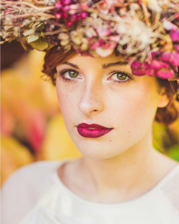 bridal, berry lips, nufi, flower crown, bride