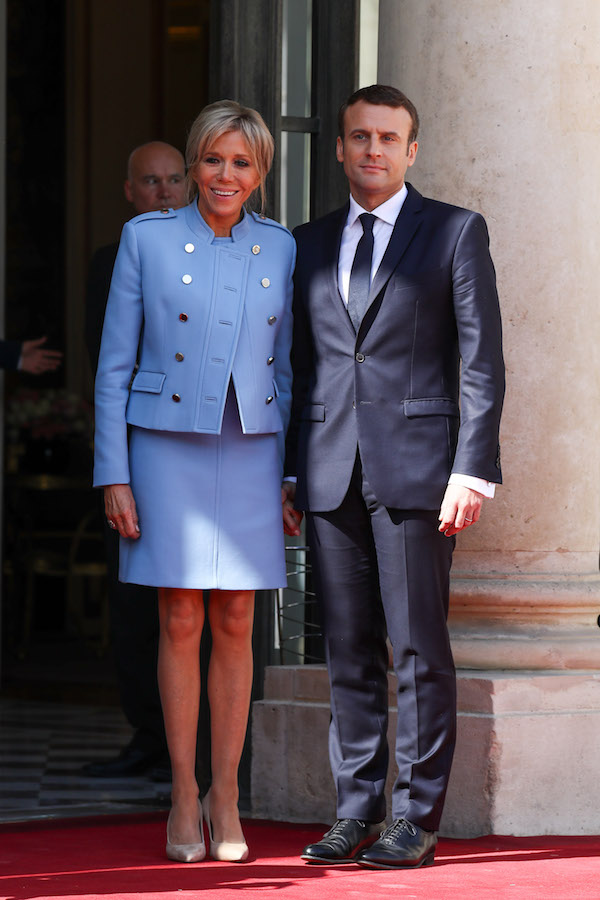 French newly elected President Emmanuel Macron with his wife Brigitte Trogneux at the Elysee presidential Palace before his formal inauguration ceremony on May 14, 2017 in Paris.  <P> Pictured: Emmanuel Macron and Brigitte Macron <B>Ref: SPL1495661  140517  </B><BR /> Picture by: Splash News<BR /> </P><P> <B>Splash News and Pictures</B><BR /> Los Angeles:	310-821-2666<BR /> New York:	212-619-2666<BR /> London:	870-934-2666<BR /> photodesk@splashnews.com<BR /> </P>
