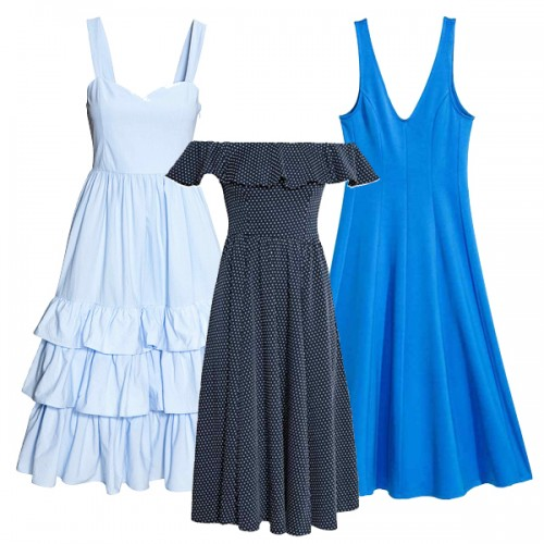 blue dresses hm