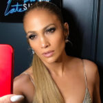 jennifer lopez, jlo, homepage image, selfie, nude lips, ponytail, sleek hair, glowing skin,
