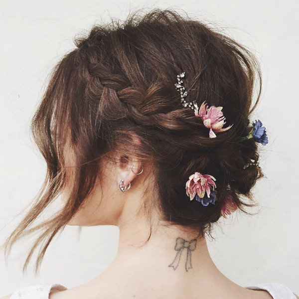 lucy hale, homepage image, braid, flowers