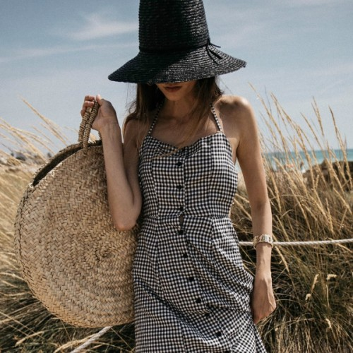 Beach-holiday-outfit-Posse-gingham-backless-dress-