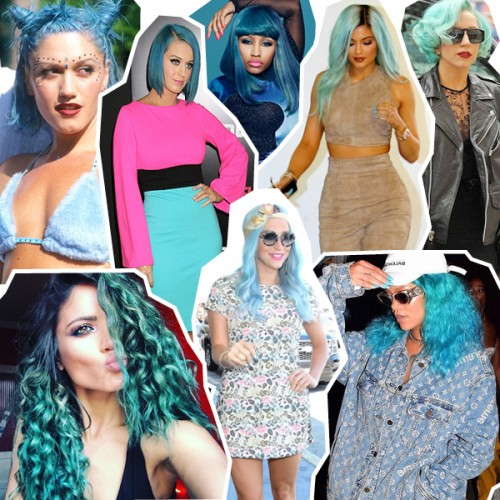 blue hair collage