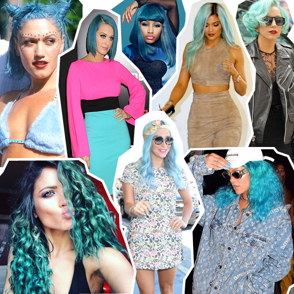 blue hair collage