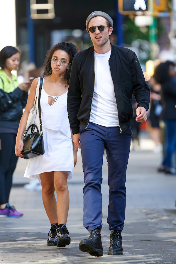 UK CLIENTS MUST CREDIT: AKM-GSI ONLY<BR /> FKA Twigs and Robert Pattinson walk amongst the city crowd while doing some shopping in SoHo, New York, NY after lunch at Jack's Wife Freda. It's no secret that Twigs and Pattinson are dangerously in love. They recently got engaged and now there is already speculation about Twigs being pregnant with his baby. <P> Pictured: FKA Twigs and Robert Pattinson <B>Ref: SPL1031532  190515  </B><BR /> Picture by: AKM-GSI / Splash News<BR /> </P><P>