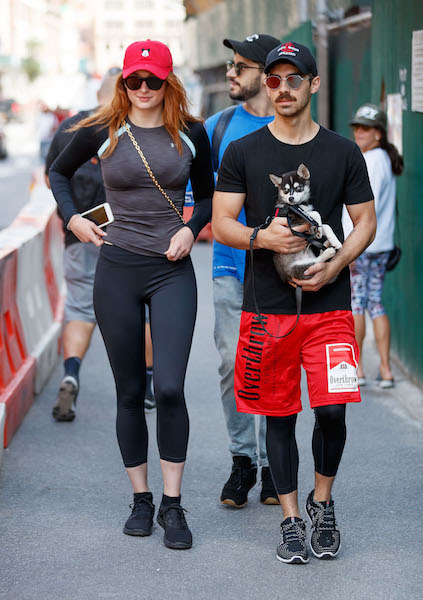 Sophie Turner and Joe Jonas, carrying their new puppy 'Direwolf', out and about for a stroll in New York <P> Pictured: Sophie Turner and Joe Jonas <B>Ref: SPL1572618  090917  </B><BR /> Picture by: XactpiX/Splash News<BR /> </P><P> <B>Splash News and Pictures</B><BR /> Los Angeles:310-821-2666<BR /> New York:212-619-2666<BR /> London:870-934-2666<BR /> photodesk@splashnews.com<BR /> </P>