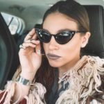 athina oikonomakou, homepage image, cat eye sunglasses, gray lips