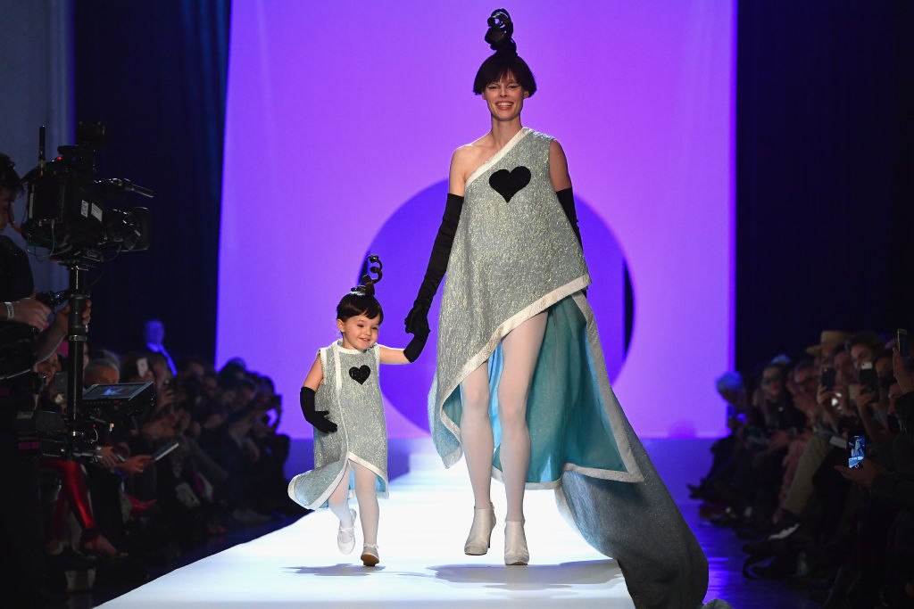 PARIS, FRANCE - JANUARY 24:  Coco Rocha and her daughter Ioni Conran walk the runway during the Jean-Paul Gaultier Spring Summer 2018 show as part of Paris Fashion Week on January 24, 2018 in Paris, France.  (Photo by Pascal Le Segretain/Getty Images)