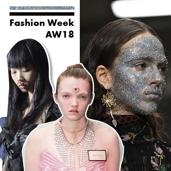beauty looks, fashion week aw18
