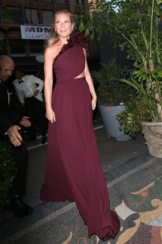 Gwyneth Paltrow and Brad Falchuck arrive at a party thrown by Ryan Murphy which was rumored to be their wedding. Gwyneth arrived in a limo looking radiant in a floor length maroon dress closely followed by her fianc�News surfaced that Glee creator Ryan Murphy was throwing the happy couple an engagement party at the Los Angeles Theater in downtown Los Angeles. Rumors soon began to circulate that this would actually be a surprise wedding for their guests to enjoy. The party had a huge guest list of Gwyneth and Brad's elite Hollywood friends. Amongst others, Steven Spielberg, Kate Hudson, Cameron Diaz, Jennifer Aniston, Julia Roberts, Liv Tyler and Chelsea Handler were all spotted arriving to what looked like a black tie event. Pictured: Gwyneth Paltrow Ref: SPL1681699  140418   Picture by: Photographer Group / Splash News Splash News and Pictures Los Angeles:310-821-2666 New York:212-619-2666 London:870-934-2666 photodesk@splashnews.com