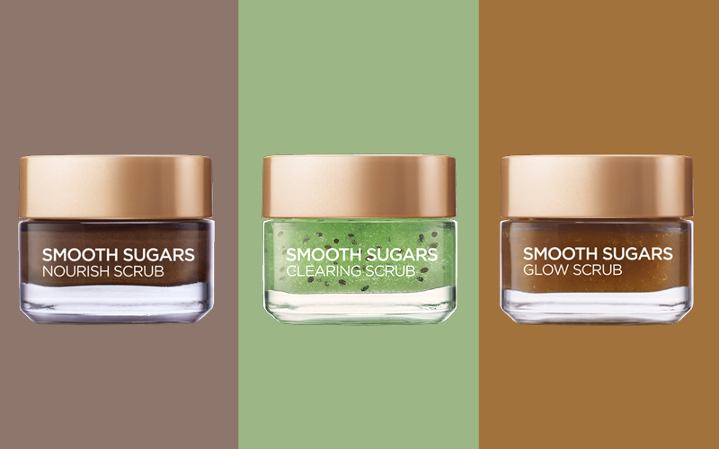 smooth sugar scrubs, l'oreal paris