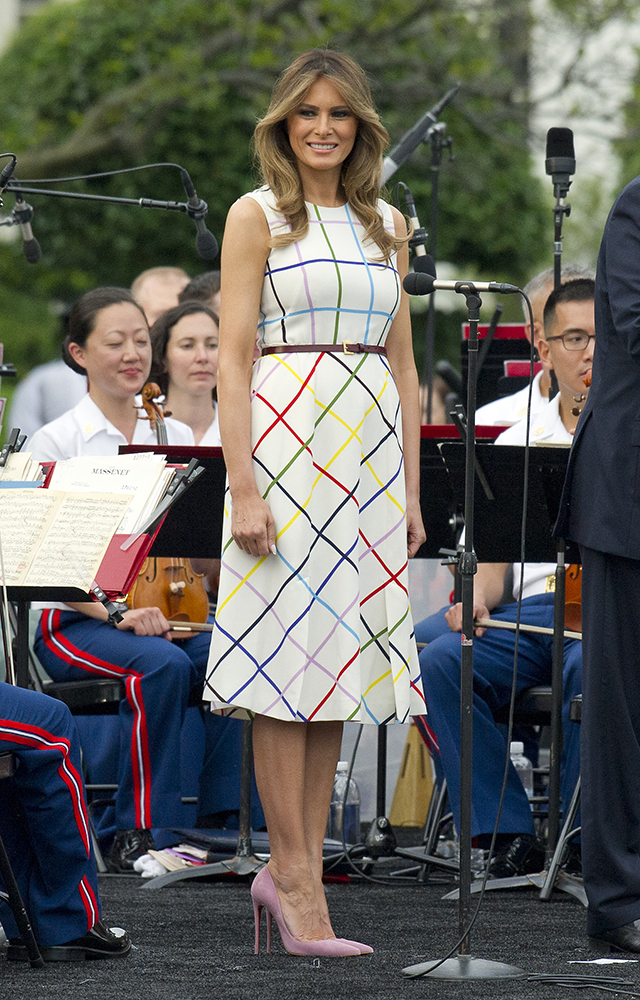 U.S. President Donald Trump, First Lady Melania Trump and Ivanka Trump attend annual White House Picnic  in Washington, USA. Pictured: Melania Trump Ref: SPL1527082  220617   Picture by: Splash News Splash News and Pictures Los Angeles:310-821-2666 New York:212-619-2666 London:870-934-2666 photodesk@splashnews.com