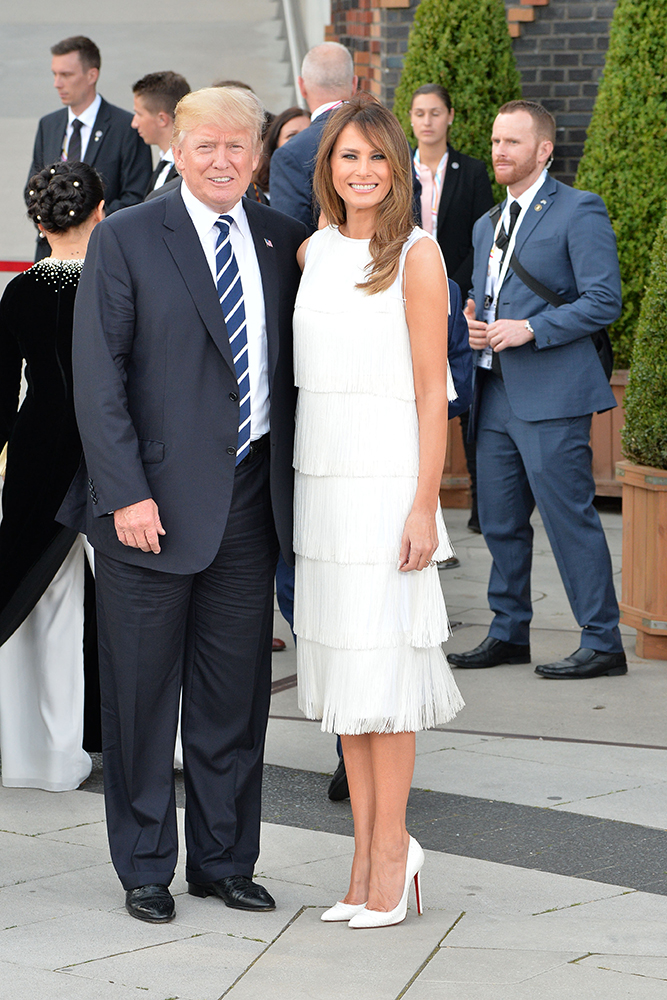 United States President Donald Trump and First Lady Melania Trump photographed before the Elbphilharmonie concert in Hamburg in Germany. Pictured: Donald Trump and Melania Trump Ref: SPL1534630  070717   Picture by: Brazil Photo Press / Splash News Splash News and Pictures Los Angeles:310-821-2666 New York:212-619-2666 London:870-934-2666 photodesk@splashnews.com