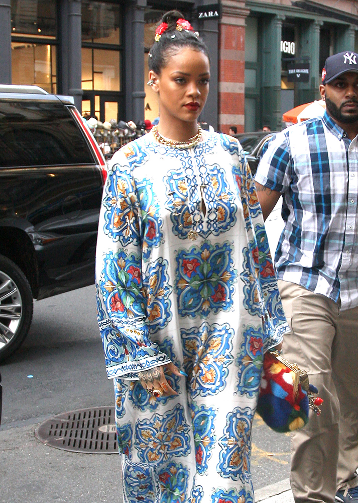 Rihanna steps out in Soho wearing a with flowers in her hair and a patterned dressed with platforms. Pictured: Rihanna Ref: SPL1290990  290516   Picture by: Said Elatab / Splash News Splash News and Pictures Los Angeles:310-821-2666 New York:212-619-2666 London:870-934-2666 photodesk@splashnews.com