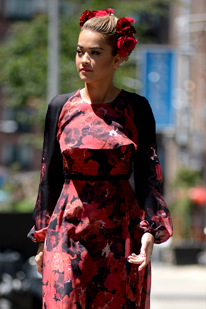 Rita Ora was seen with flowers in her hair in Tribeca in New York City on July 28, 2016. Pictured: Rita Ora Ref: SPL1326399  280716   Picture by: Splash News Splash News and Pictures Los Angeles:310-821-2666 New York:212-619-2666 London:870-934-2666 photodesk@splashnews.com