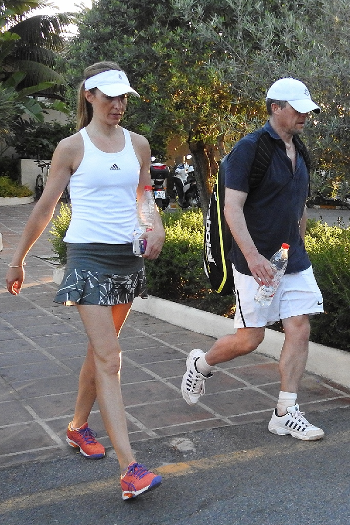 Hugh Grant and Girlfriend enjoy a friendly match of tennis in while on Holiday in Marbella, Spain. Pictured: Hugh Grant Anna Eberstein Ref: SPL1292586  010616   Picture by: LOTE/Splash News Splash News and Pictures Los Angeles:310-821-2666 New York:212-619-2666 London:870-934-2666 photodesk@splashnews.com