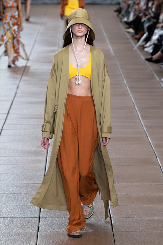 A Model wearing an outfit from the Women's ready to wear collections, Spring/Summer 2019, original creation, during the Fashion Week in New York, USA, from the house of 3.1 Phillip Lim