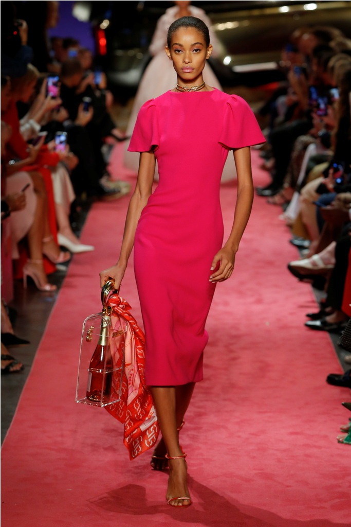 A Model wearing an outfit from the Women's ready to wear collections, Spring/Summer 2019, original creation, during the Fashion Week in New York, USA, from the house of Brandon Maxwell