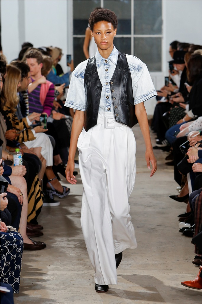 A Model wearing an outfit from the Women's ready to wear collections, Spring/Summer 2019, original creation, during the Fashion Week in New York, USA, from the house of Proenza Schouler