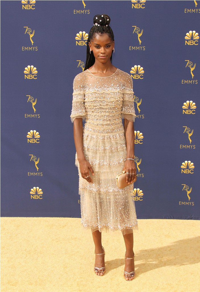 2018 Emmy Awards - Los Angeles  Pictured: Letitia Wright Ref: SPL5025247 170918 NON-EXCLUSIVE Picture by: Jen Lowery / SplashNews.com  Splash News and Pictures Los Angeles: 310-821-2666 New York: 212-619-2666 London: 0207 644 7656 Milan: +39 02 4399 8577 Sydney: +61 02 9240 7700 photodesk@splashnews.com  World Rights