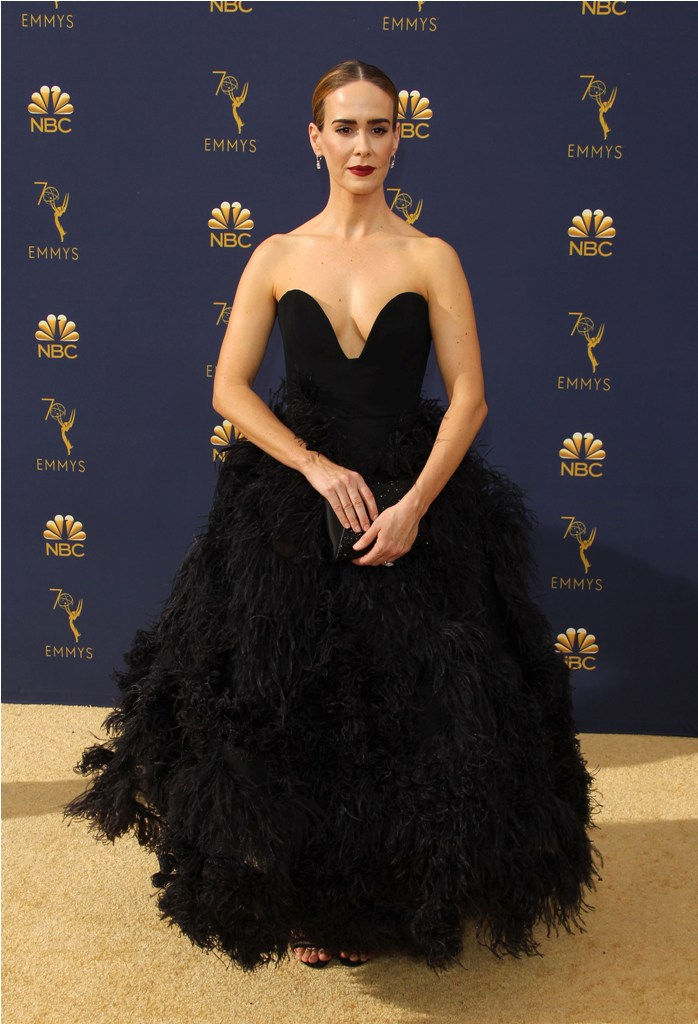 2018 Emmy Awards - Los Angeles  Pictured: Sarah Paulson Ref: SPL5025251 170918 NON-EXCLUSIVE Picture by: Jen Lowery / SplashNews.com  Splash News and Pictures Los Angeles: 310-821-2666 New York: 212-619-2666 London: 0207 644 7656 Milan: +39 02 4399 8577 Sydney: +61 02 9240 7700 photodesk@splashnews.com  World Rights