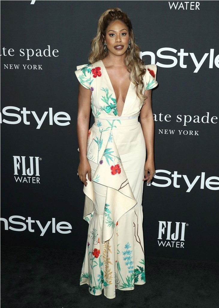 Celebrities at the 4th Annual InStyle Awards at The Getty Center in Los Angeles, CA.  Pictured: Laverne Cox,Jennifer Aniston Ref: SPL5035653 221018 NON-EXCLUSIVE Picture by: SplashNews.com  Splash News and Pictures Los Angeles: 310-821-2666 New York: 212-619-2666 London: 0207 644 7656 Milan: +39 02 4399 8577 Sydney: +61 02 9240 7700 photodesk@splashnews.com  World Rights, No Austria Rights, No Germany Rights, No Switzerland Rights