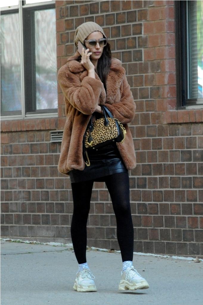 Irina Shayk wears MANGO coat & skirt in NKY - Rights from 21102018 PR+SM WW
