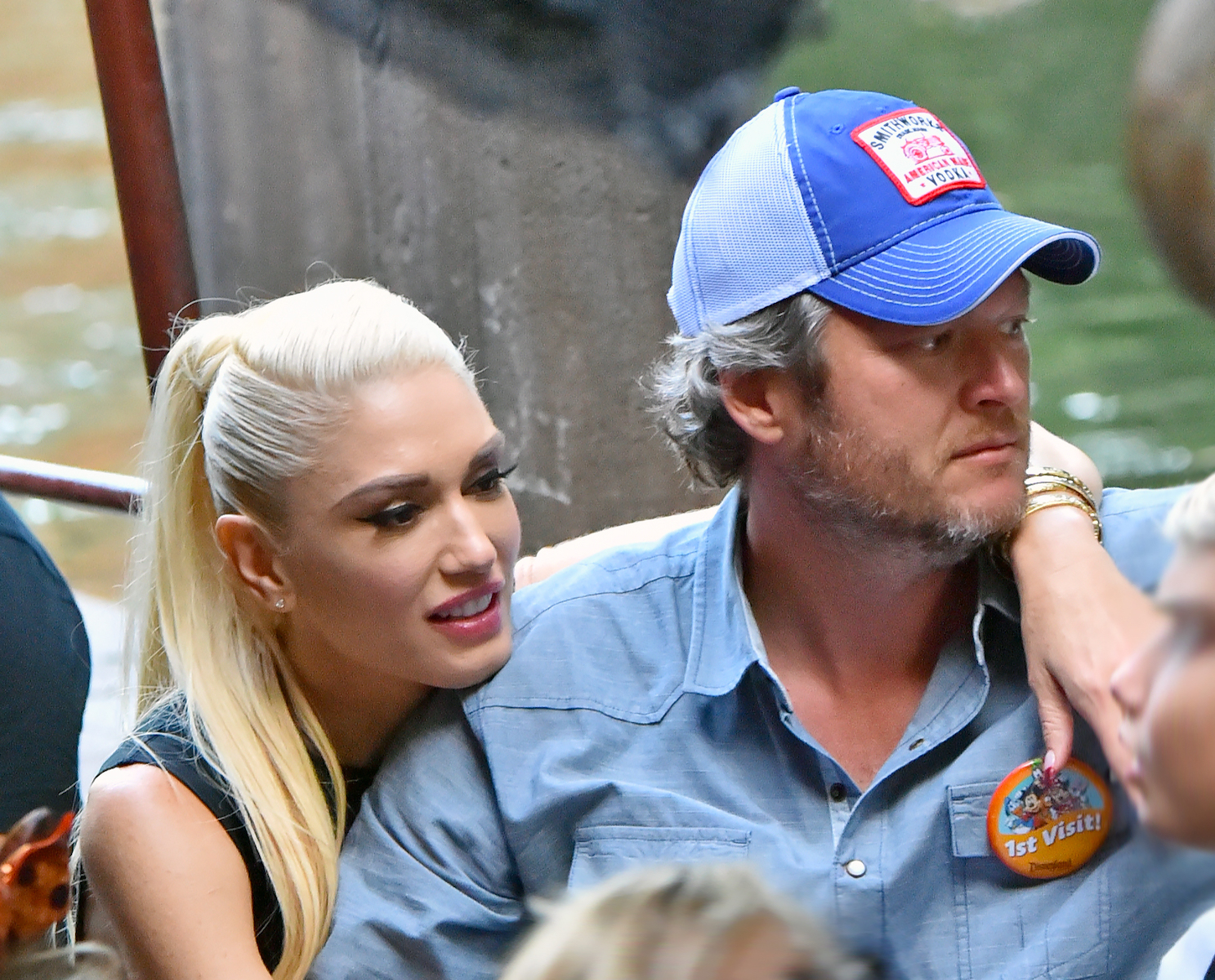 Gwen Stefani and Blake Shelton pack on the PDA while riding the Jungle Cruise ride at Disneyland. Gwen sat next to Blake and and had both arms around him and her head on his shoulder  Pictured: Gwen Stefani and Blake Shelton,Gwen Stefani Blake Shelton Ref: SPL1372816 121016 NON-EXCLUSIVE Picture by: SplashNews.com  Splash News and Pictures Los Angeles: 310-821-2666 New York: 212-619-2666 London: 0207 644 7656 Milan: 02 4399 8577 photodesk@splashnews.com  World Rights