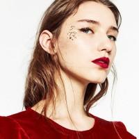 zara beauty, red lips, glitter