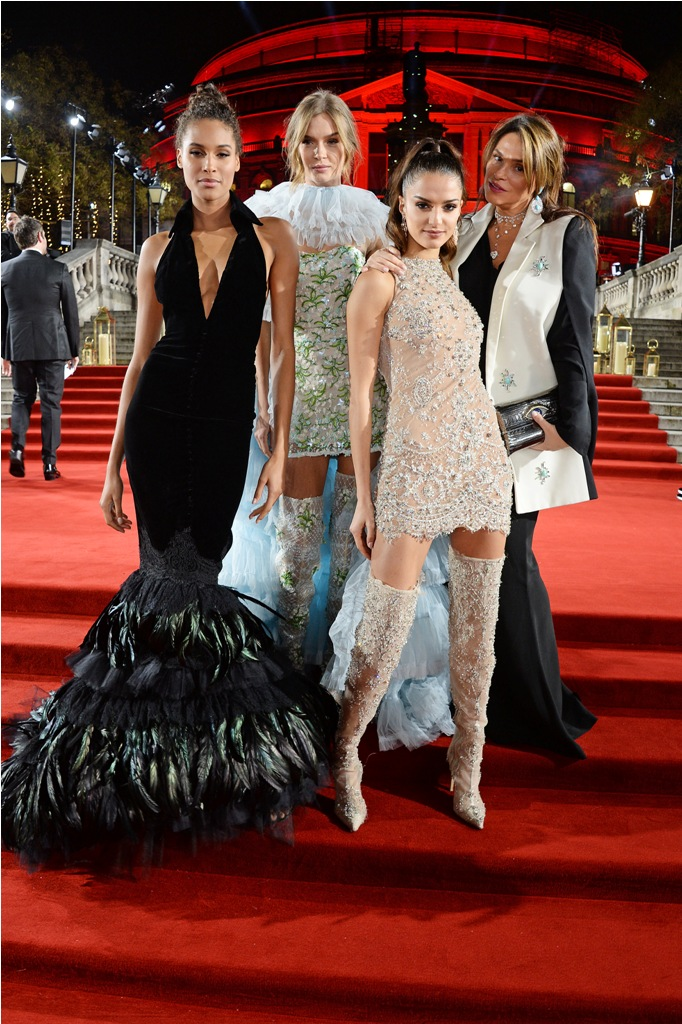 LONDON, ENGLAND - DECEMBER 10:  (L to R)  Cindy Bruna, Josephine Skriver, Gabrielle Caunesil and Celia Kritharioti arrive at The Fashion Awards 2018 in partnership with Swarovski at the Royal Albert Hall on December 10, 2018 in London, England.   Pic Credit: Dave Benett   *** Local Caption *** Cindy Bruna; Josephine Skriver; Gabrielle Caunesil; Celia Kritharioti